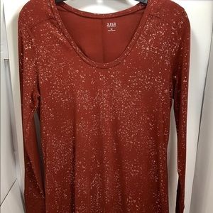 A.N.A Women's Red Speckled Long Sleeve